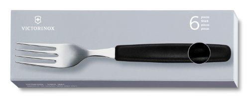 Victorinox Gabel-Set 6 Stück (Rutschfester Griff, Rostfrei, Edelstahl, Spülmaschinengeeignet) schwarz
