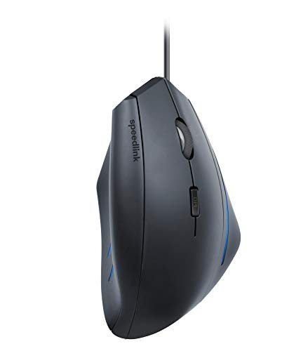 Speedlink MANEJO Ergonomic Vertical Mouse - Ergonomische 3 Tasten Maus für Rechtshänder mit USB (1600 DPI - LED Beleuchtung - gesundes Arbeiten am PC/Notebook/Laptop) für Büro/Home Office, schwarz