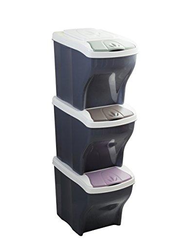Bama Poker Tris Set Mülltonnen für die Mülltrennung, sortiert, 28x 40x 31cm