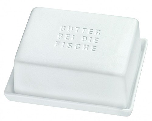 Butterdose Butterbehälter 'BUTTER BEI DIE FISCHE' Poesie et Table. Breakfast Räder