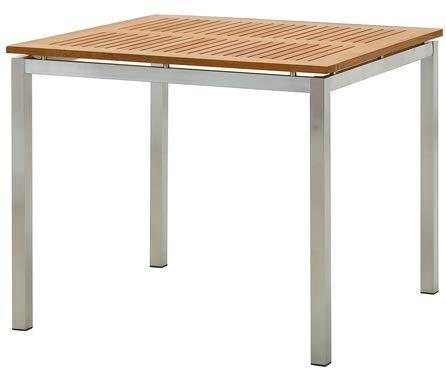 Edelstahl Teak Gartentisch 90x90 cm Holztisch Esstisch Tisch Massive Ausführung A-Grade Teakholz Kuba Modell: Kuba von As-S