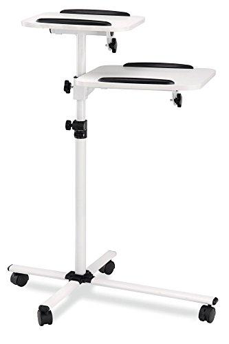 Pronomic PT-6 MKII Beamer- und Projektorwagen Beamertisch Rollwagen Medienwagen für Video-, Dia-, Overhead-Projektoren, Laptoptisch, Notebooktisch (höhenverstellbar, Ablageflächen, neigbar) weiß