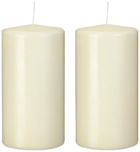 Papstar Stumpenkerzen / Säulenkerzen Elfenbein 'Ivory' (2 Stück) Ø, 8 cm, Höhe 15 cm, Brenndauer ca. 70 Stunden, rußfreies Abbrennen, für Gastronomie, Haushalt oder Feste, #15363