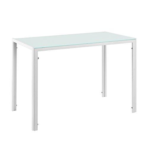 [en.casa] Stylischer Esstisch mit Tischplatte aus Glas Weiß