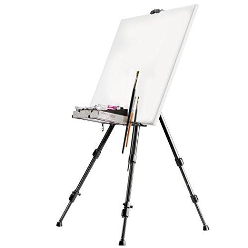 Walimex Pro Atelierstaffelei (XL, 180 cm, maximal Belastbarkeit: circa 6 kg, inklusiv Ablage für Farben, Pinsel, Tuchhalterung und Tragetasche, Leinwände bis 140 cm Höhe) schwarz