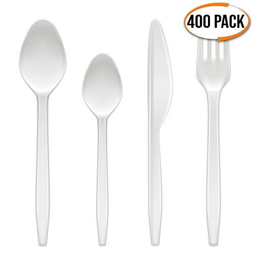matana 400Pcs Weiß Schwerlast Stabil Plastikbesteck Set - Einweg Wiederverwendbar Kunststoff Besteckset - (100 Löffel, 100 Gabeln, 100 Messer, 100 Teelöffel) - Groß für Partys, Geburtstage.