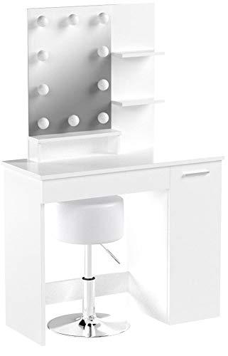 Vicco LED Schminktisch Julia Weiß inkl Hocker Kosmetiktisch Frisierkommode Frisiertisch Spiegel