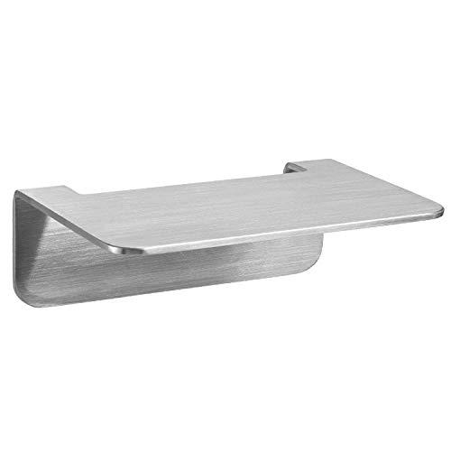 WEISSENSTEIN Badablage Ohne Bohren aus Edelstahl - Selbstklebende Ablage fürs Bad - 14 x 10 x 3,5 cm