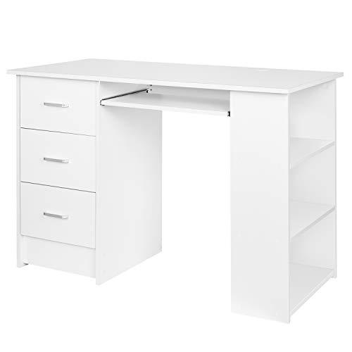 Homfa Schreibtisch mit 3 Schubladen und Staumraum Computertisch mit Tastaturauszug Bürotisch Arbeitstisch PC Tisch mit Ablage weiß 110x49x75 cm(BxTxH)