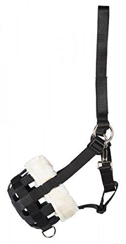 PFIFF Pferde Maulkorb/Fressbremse mit Kunstfell (schwarz) inkl. Kopfstück (Pony)