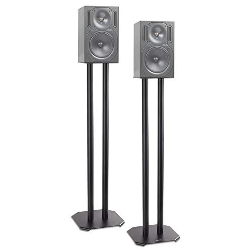 Duronic SPS1022 – 80 Twin Lautsprecherständer Schwarze Metall Basis / 80 cm Höhe/geeignet für Lautsprecher – Hi-Fi und Heimkinoanlagen.