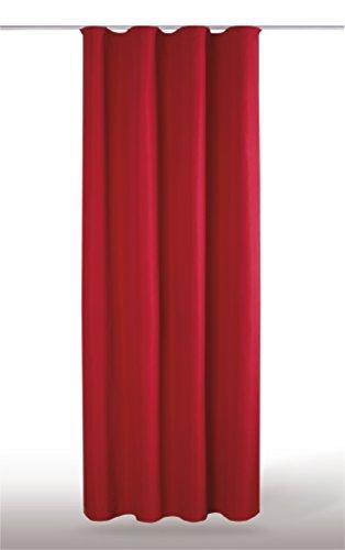 Blickdichte einfarbige Gardine in 4 vers. Ausführungen und in vielen Farben und Größen erhältlich, Auswahl: U-Band - B140xL175cm, rot - kaminrot