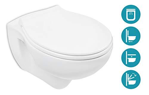 Calmwaters spülrandloses Hänge-WC Set mit WC-Sitz & Absenkautomatik, Tiefspüler ohne Spülrand, Wand-Toilette Weiß, Take-Off Deckel abnehmbar mit Metallscharnier, Fast-Fix Schnellbefestigung - 08AB3131