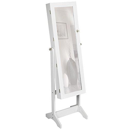 TecTake Luxus Spiegelschmuckschrank mit extra großem Spiegel - Diverse Farben - (Weiß | Nr. 400764)