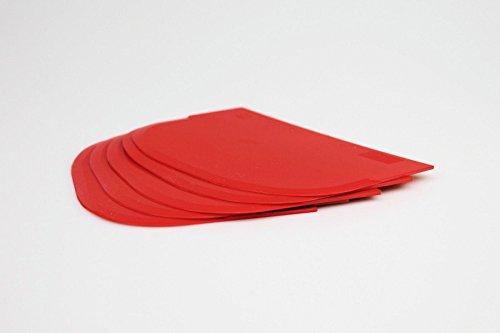 Teigschaber mit Schabekante – 5er Pack – Backen wie die Profis – ideal als Teigkratzer oder Teigteiler – Farbe: Rot – sehr robust & belastbar
