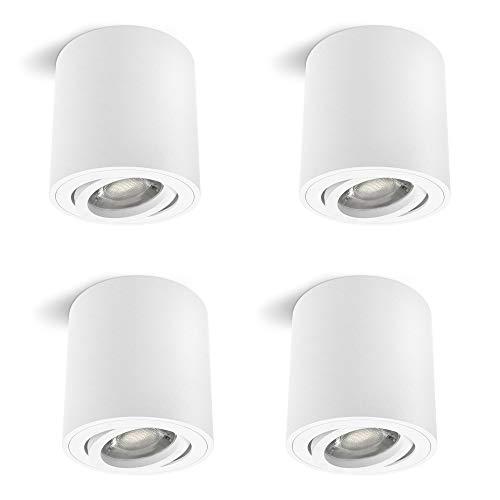 4 Stück linovum CORI Aufbauleuchten Set in matt weiß & schwenkbar - runde Deckenlampe Aufputz geeignet für GU10 & LED Module