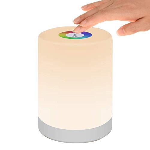 Nachttischlampe Touch Dimmbar, LED Smart NachtLicht Stimmungslicht Schreibtischlampe, USB Aufladbar, Tragbar, FarbWechsel 256 RGB für Kinder, SchlafZimmer, Camping (Warmweiß)
