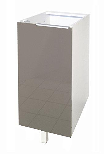 Berlenus Küchen-Unterschrank mit 1Tür, Hochglanz-Weiß, 60 x 52 x 83 cm