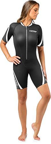 Cressi Damen Playa Lady Wetsuit 2.5mm Shorty Diving und Snorrkeling Neoprenanzug Schwarz/Weiß M/3