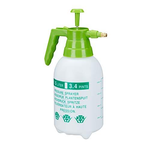 Relaxdays Drucksprüher, 1,5 Liter, einstellbare Messingdüse, Garten, Bewässerung, Schädlingsbekämpfung, PE, weiß/grün