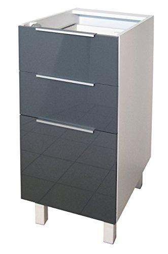 Berlenus CT4BG Küchenunterschrank, 3 Türen, hochglanz, 40 cm, Grau