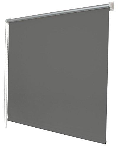 Gardinenbox Thermo Seitenzugrollo Klemmfix Kettenzug Rollo, 60x150, Grau Easyfix mit Thermobeschichtung energie sparend Metallkette, 62400