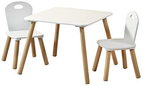 1 Kindertisch mit 2 Stühlen; weiß, Maße: Tisch 55 x 55 x 45 cm, Stuhl 27,5 x 27,5 x 50,5 cm