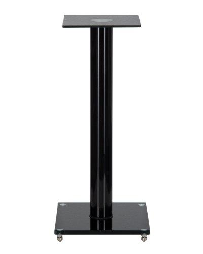 1 Paar Boxenständer V1 Black-Line aus Glas / Alu mit Spikes, 1 Säule, mit Kabelkanal
