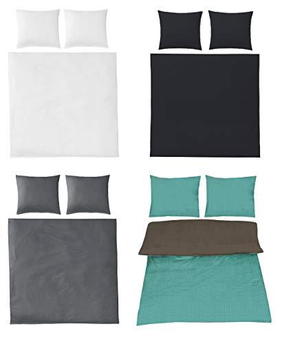 Seersucker Bettwäsche Uni Baumwolle bügelfrei in 4 Farben 200x200 cm 2X 80x80 cm Weiss