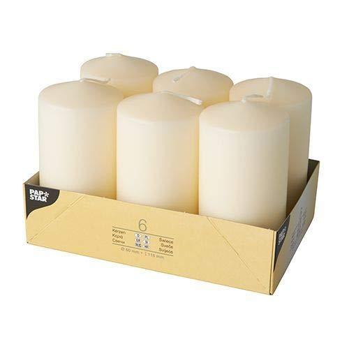 Papstar Stumpenkerzen / Säulenkerzen creme, (6 Stück), Abmessungen 6 x 11.5 cm, für Haushalt, Feiern und Gastronomie, Brenndauer: ca. 24 Stunden #17991