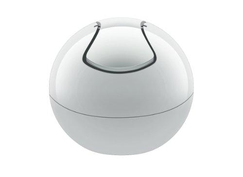 Spirella 10.15138 Kosmetikeimer 1 Liter Abfalleimer Schwingdeckeleimer Tischabfalleimer 'Bowl' Weiß