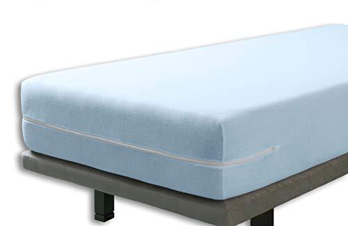 Velfont - Elastischer Matratzenbezug mit Reißverschluss, Frottee Baumwolle Matratzenauflage   Matratzenschonbezug - 140 x 200 cm - Hellblaue- Matratzenhöhe 15-25cm - verfügbar in verschiedenen Größen