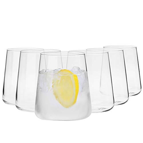 Krosno Gin Gläser Wassergläser Weißweingläser | Set von 6 | 380 ML | Avant-Garde Kollektion | Perfekt für zu Hause, Restaurants und Partys | Spülmaschinenfest und Mikrowellengeeignet