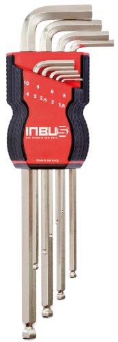 Inbus 70167Inbusschlüssel Set/Satz 9Stück 1,5–10mm Kugelkopf | Made in Germany | 1,5mm | 2mm | 2,5mm | 3mm | 4mm | 5mm | 6mm | 8mm | 10mm