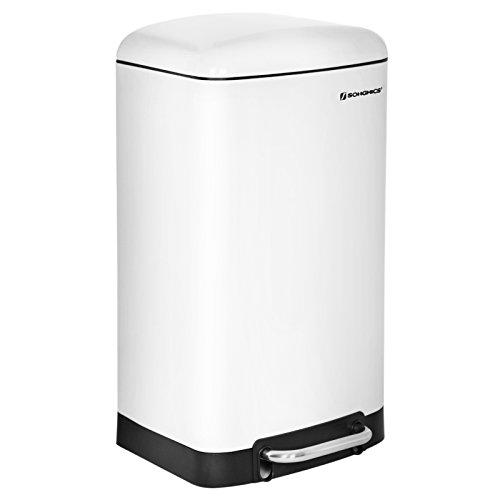 SONGMICS Mülleimer 30 L Abfalleimer Abfallbehälter für Küche Treteimer Edelstahl Weiß LTB01W