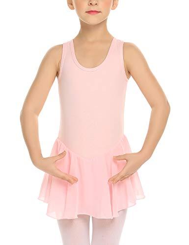 Bricnat Mädchen Ballettkleid Ärmellos Ballettkleidung Set Ballettanzug Ballett Trikot mit Chiffon Wickelrock Kinder süßer Ballettbody Sommer Ballettkleid schwarz, lila, pink