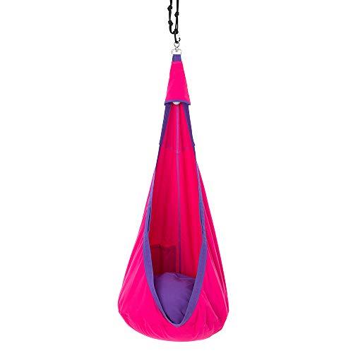 Umi Jujuu Hängehöhle für Kinder aus Biobaumwolle | die eingebaute Lichtquelle schont die Augen | breites Sitzkissen | sichere und robuste Befestigung mit Drehwirbel | purple