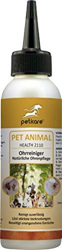 Peticare Ohren-Reiniger für Hunde & Katzen - natürliche Spezial-Lösung zur Pflege, reinigt gründlich, gegen unangenehmen Geruch, löst Verkrustung, 100% natürlich - petAnimal Health 2110 (100 ml)