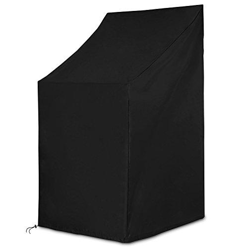 Dokon Schutzhülle für Gartenstühle Wasserdichtes Atmungsaktives Oxford-Gewebe Stapelstühle / Gartenstuhl Abdeckung(65x65x80/120cm) - Schwarz