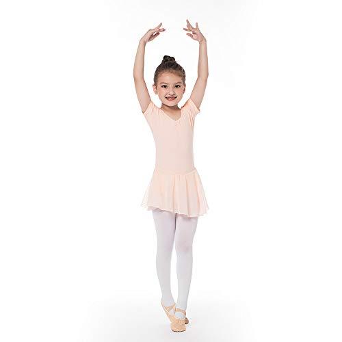 Kinder Kurzarm Ballettkleid aus Baumwolle mit Chiffon Kleider Ballett Trikot Turnanzug für Mädchen Rosa 120