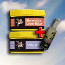 MegaSpar Set 1x 500ml Sattelseife mit Schwamm. 1 x 500ml Bienenwachs-Leder-Balsam. 1x 100ml Parisol StarFinish, 1 Reinigungstuch