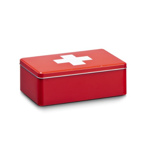 Zeller 19206 Aufbewahrungs-Box First Aid, Metall, ca. 20,2 x 13,2 x 6,7 cm