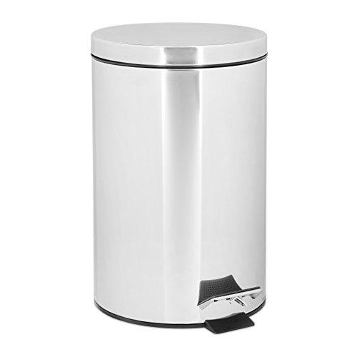 Relaxdays Treteimer 12 L aus Edelstahl H x D: 39 x 25 cm großer Abfalleimer in Metall-Optik als Abfallbehälter und Tretmülleimer für Küche und Bad Kosmetikeimer Tretmülleimer, silber