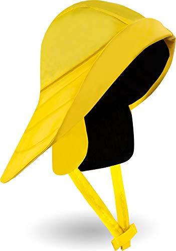 normani Outdoor Sports Regenmütze wasserdichter Regenhut mit Baumwollfutter und Sturmband im Südwester Stil Farbe Gelb