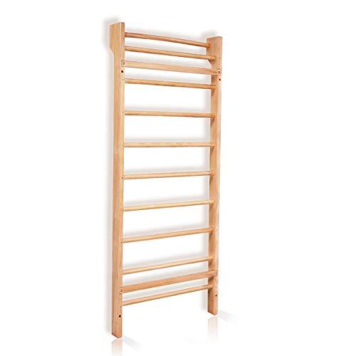 Goplus Sprossenwand Turnwand Kletterwand Klettergerüst Sportgerät, geeignet für Kinder und Erwachsene, aus Holz, Natur, 195x80x14 cm