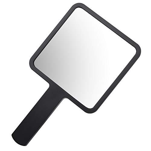 YoungRich Reise Kleiner Handspiegel mit Griff Hand Held Spiegel Portable Kosmetikspiegel Kompaktspiegel für Make up Friseur Salon Herrenfriseursalon Heimgebrauch 9 × 16 cm schwarz