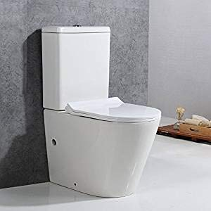 Yontree Stand-WC Toilette Tiefspüler Kombination mit Spülkasten Absenkautomatik