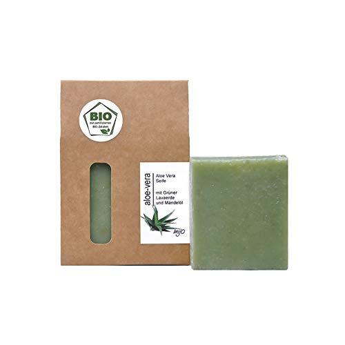 Mijo ALOE VERA Seife für Gesicht 100% handgemachte Naturseife mit Bio Olivenöl, ohne Palmöl, vegan & plastikfrei
