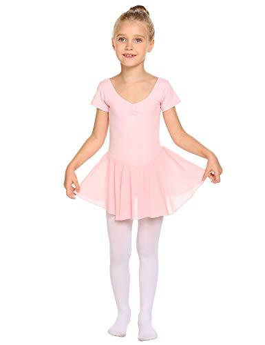 Untlet Ballettkleid Mädchen Kinder Kurarm Ballettanzug Ballett Trikot Kurzarm Body mit Chiffon Wickelrock Kinder Ballettkleidung Tanzkleid Tanzbody