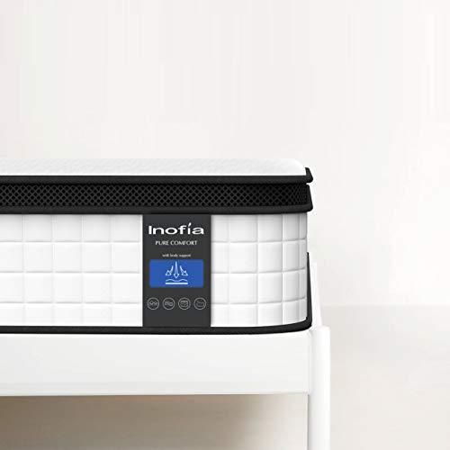 Inofia Matratze 90x200 Federkernmatratze Taschenfederkernmatratze H3 7-Zonen/Wave Memory Foam & Softgestrick/Elegant Typ/Höhe 27 cm/weiß /100 Nächte Probeschlafen /10 Jahre Garantie